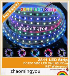 YON Free shipping 2811 Dream Magic Color 5050 RGB Digital LED Strip,DC12V 60LED m IP67 Waterproof Intelligent LED Strip.