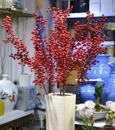 Wholesale Acacia red fruit rich red fruit high artificial flowers silk flowers artificial flowers living room floor wedding supplies