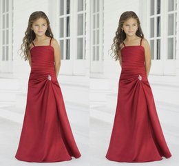 Wholesale Child Bridesmaids Dresses - Custom Made Junior Bridesmaid Dresses 2016 Spaghetti Pleated Floor Length Beaded Wedding Flower Girl Dresses Baby Child Formal Party Wear