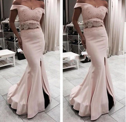 Pink Gorgeous Split Prom Dresses Cap Sleeves Lace Applique Mermaid Two Pieces Long Off Shoulder Women Vestidos De Fiesta Evening Dress
