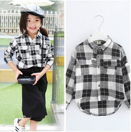 wholesale New 2016 Fashion spring autumn kids girls black and white Plaid blouses full-sleeve Turn-down Collar blouse