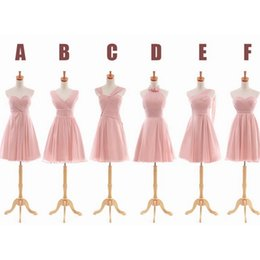 Pleated Short Chiffon Bridesmaid Dress Light Pink 2019 Elegant Party Dress For Wedding Lace Up 6 Style Mixed Order