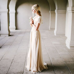 Bohemian Style Champagne Wedding Dress with Flutter Sleeves A-line Vintage Bridal Gowns Outdoor Modest Beach Bride Dresses Simple New