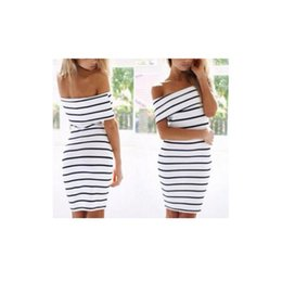 Wholesale Knee Length Tights For Women - Tight Sexy Black Dresses Women Clothes White Stripe Slash Neck Ruffles Women Clothes Dresses for Womens with Off Shoulder LY043