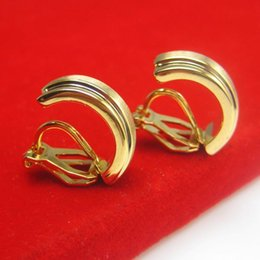 Anti allergy gold 24K gold plated clip earrings are women without fashion bride wedding jewelry gift.