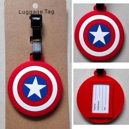 Captain America Shield Logo Red 8cm Plastic Luggage Tag Name Bag Card Holder New