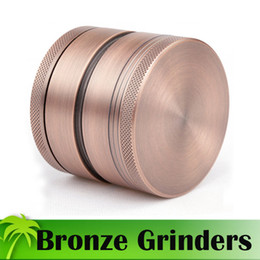 Wholesale Newest Bronze Grinders Piece Tobacco Grinder mm Diameter Deluxe Aluminium Grinders Herb Spice Crusher Magnetic Cover Grinders