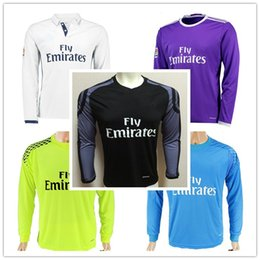 Wholesale Thai quality Real Madrid CF new long sleeve jerseys home away kits James Bale Ramos Ronaldo men s soccer jerseys Cheap football shirt suits