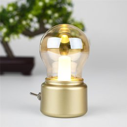 Wholesale Retro Bulb Lamp USB Charging Portable Mini Desktop Light Bulb Shape Small Night Lightght Candle Outdoor Camping Lights