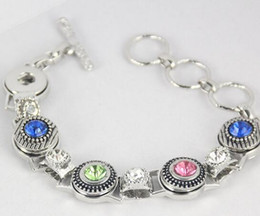 12MM NOOSA chunks snap button jewelry 19cm alloy fashion bracelet with rhinestone 12mm noosa bracelet snap button bracelet diy jelwery
