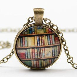 Wholesale Foreign trade sales of rare books from antique book time gem necklace DIY alloy necklace retro glass batch fashion necklace for women