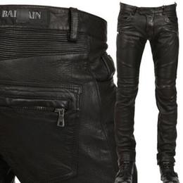 Wholesale Leather Pants Man Black - True Brand Designer Balmans PU Faux Leather Men Pants Skinny Justin Bieber Clothes Slim Fit zipper black balmai biker leather pants for men