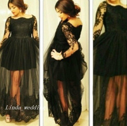 Black Plus Size Prom Dress With Long Sleeves High Quality Tulle See Through Floor Length Formal Party Gown
