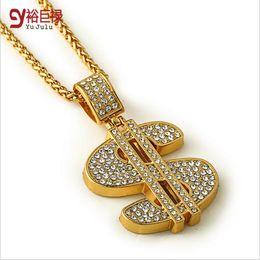 New 2016 Men Hip Hop Gothic18K Gold Long US Dollar Pendant Necklace Chain Accessories $ Necklaces Pendants for Women Men Jewelry