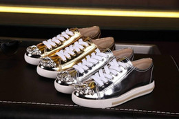 best quality~ u525 genuine leather gem diamonds patent leather sneakers shoes m silver gold black metallic bling