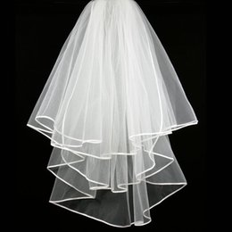 New Hight Qualityr Cheap Best Sale Elbow White Ivory Ribbon Edge Veil Bridal Head Pieces For Wedding Dresses