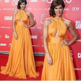 Wholesale 2016 Keyhole Evening Dresses Halter Keyhole Arabic A line Celebrity Chiffon Front Split with Belt Prom Gowns