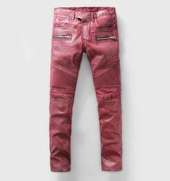 Wholesale 2016 BALMAIN new European and American avant garde hip hop hip hop nightclub personality paint jeans small straight men s denim trousers