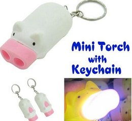 Mini Pig Torch Flashlight Key Chain Cute Pig 2 LED Keychain Light Keyring Novelty Cute Cartoon Pig Flashlight Light Keychains