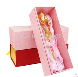 10Pcs lot Lover's Gifts 24k Gold Rose Bud Gold Dipped With Box Certificate Velantine's Day Supplies