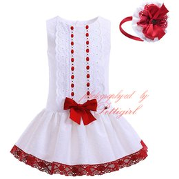 Wholesale Pettigirl Hot Selling Boutique Girls Tank Summer White Lace Dress With Headbands Decorated With Red Bow Baby Children Wear G DMGD905