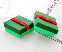 [Simple Seven] Solid Green Bracelet Box Christmas Earring Case Colorful Pendant Display Special Gift Jewelry Box with Red Bowknot(Middle)