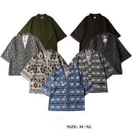 Wholesale Kimono jacket men japanese clothes fashion design harajuku retro shirt casual blue camo outwear kanye west style kimonos jackets