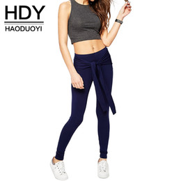 Wholesale HDY Haoduoyi Women Fashion Sexy Casual Solid Blue Tie Front Slim Leggings Trousers Elastic Waist Long Pencil Pants