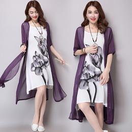 Wholesale Las mujeres se visten de verano nuevo algodón y el vestido de la impresión de la tinta de la vendimia longitud media ropa de estilo de China falso de dos piezas de ropa
