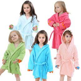 Hooded Bathrobe 5 Colors Cartoon Animal Beautiful Dinosaur Style Baby Cotton Towel Girls Clothing Kids Bathrobe