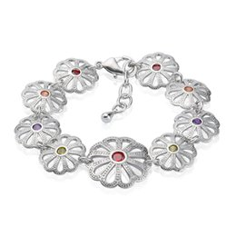 Party Dating Shiny Bracelet 18K White Gold Plated Lotus Leaf Charm Bracelet for Women Free Shipping