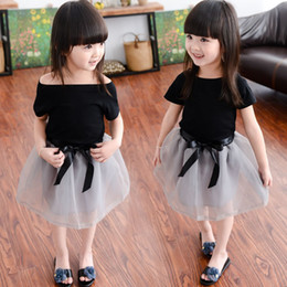Summer Girls Lace TUTU Skirts Sets Clothing Costume Korean Black T Shirts Tops+Gray Bow Skirt 2PCS Outfits For Children Kids Clothes