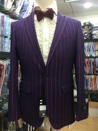 Wholesale-FREE SHIPPING 2016 new arrived business man suit stripe suit
