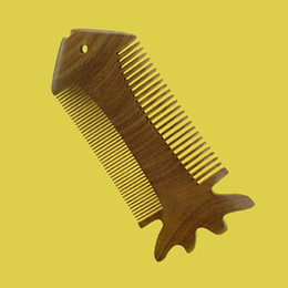 Wholesale New Natural Handmade Men Women Green Sandalwood Wooden Fine Wide Tooth Beard Lice Pocket Hair Comb Anti Static Hair Care Styling Brush Comb