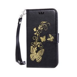 Wholesale Gold plated For Samsung J1 ACE cardholders Emboss Flowers and butterflies Flip Wallet Case Cover with Kickstand and Wrist Strap Hang buckle