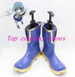 Wholesale Sayaka Miki Cosplay Costume - Wholesale-Puella Magi Madoka Magica Miki Sayaka Short Cosplay Boots shoes blue #PM031 Custom made