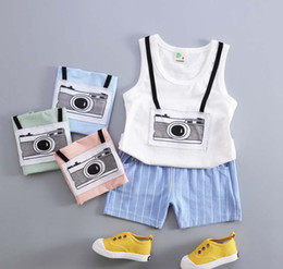 Wholesale Sleeveless shorts and vest in the summer of best selling camera boy baby boys vest cotton suit sales
