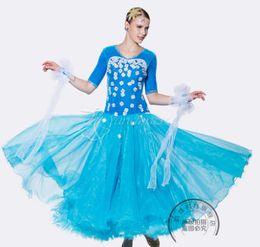 blue short sleeve white flower ballroom Waltz tango salsa Quick step competition dress one shoulder cutout