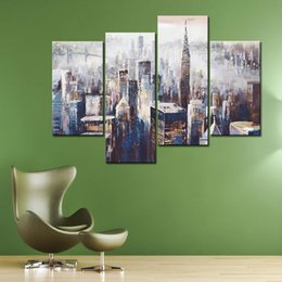 """4 Picture Combination Wall Art """"Colorful City"""" Abstract Oil Painting on Canvas Ready to Hang for Wall Decor Home Decoration"""