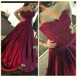 Burgundy African Prom Dresses 2017 A Line Sweetheart Lace Satin Pleats Evening Dresses Long Back Celebrity Dresses Formal Prom Gown