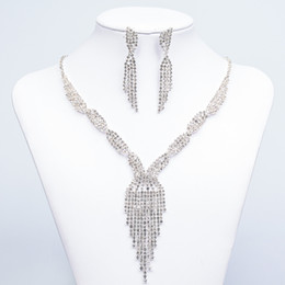 Wholesale Cheap Jewelry Crystal Rhinestones Bride Prom Wedding Jewellery Sets Necklace Drop Earrings Bridal Accessories
