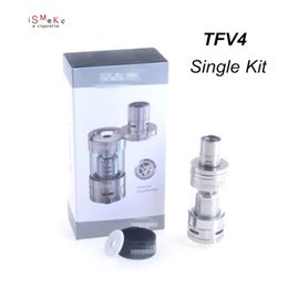 Wholesale MIN Good price Smok TFV4 Tank Clearomizer ml Sub ohm Coils TFmizer Single Kit SS Electronic Cigarette for xube ii box modV4 Ato
