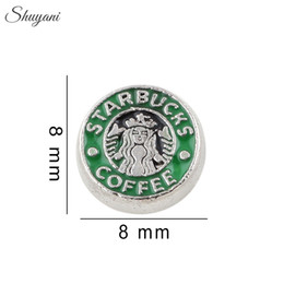 Wholesale Silver Plated Enamel Coffee Charms Pendants Alloy Floating Lockets Charms for Bracelet DIY Living Glass Locket Necklaces
