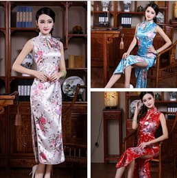 White BLACK RED Blue Silk Satin Women's Dress Long Cheongsam Qipao Coat Skirt evening dress Bridal gown size S-3XL