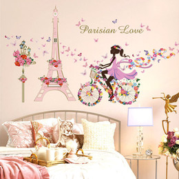 Wholesale Flower Fairy Bicycle Butterfly Flower Tower Wall Sticker Girls Room Kids Nursery Wall Decals Home Decorations