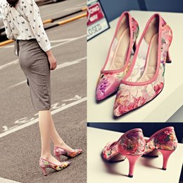 Women Fashion High Heel Bridal Pumps Pointy Toe Pink Floral Print Lace Custouts Fashion Lady Lace Dress Shoes