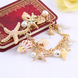 Wholesale pc High Quality Ocean Style Multi Starfish Sea Star Conch Shell Simulated Pearl Chain Beach Bracelet Bangle Novelty Hot