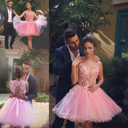 Short Pink Wedding Dresses 2016 Sleeveless Ball Gown with Appliques Flowers robe de mariage Keyhole Back Tulle Organza robe de mariee