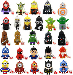Wholesale Pendrives Cartoon New Star Wars Super Hero Minions BB R2D2 USB Flash Pen Drive Memory Stick Thumbdrives U Disk Real GB GB GB