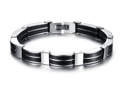 Trendy JEWELRY Silicone Stainless Steel Wire-Cable Chain Handmade Wide Wristband Black Punk Rock Men Accessory Man Silicone Bangle 815